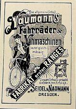 Seidel & Naumann biciclette Dresda insegne annuncio Pubblicità visualizzazione pressione 1898