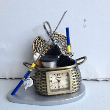Fishing Basket Mini Clock with NEW BATTERY! NOS