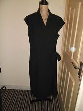 Ladies Dress Long Tall Sally Wrapover Dress Black Size 18 Ex Con