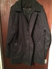 New BHS Black Mens Medium Winter Coat/Jacket, Zipped Pockets, Large Collar