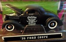 MAISTO 36 1936 FORD COUPE RAT ROD CUSTOM STYLE FLAT BLACK OUTLAWS GARAGE CAR