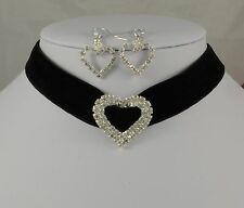 BLACK VELVET RIBBON & SILVER HEART DIAMANTE CRYSTAL CHOKER/NECKLACE EARRINGS SET