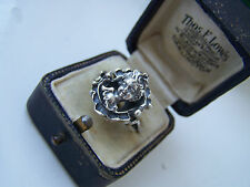 EXTREMELY RARE VINTAGE SOLID STERLING SILVER 3D CARVED CAMEO CHERUB RING SIZE O