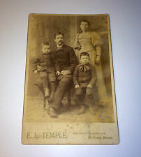 Antique Family Cabinet Card Photo Two Young Boys & Parents! Mustache! Fashion!