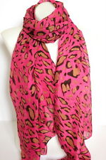 NEW Hot Pink Leopard Print Large Maxi Scarf Stole Sarong Fast Shipping