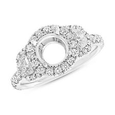 18K White Gold 7.4mm Round Semi Mount Diamond Engagement Ring Half Moon Setting