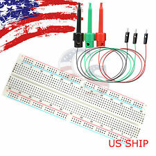 3X Test Hook & MB-102 830 Point Prototype PCB Solderless Breadboard Protoboard