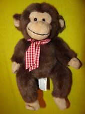 """Bearington Collection Brown Monkey w/ Red Checked Bow Plush Beanie Doll 9"""""""