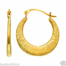 Shiny Graduated Textured Hoop Earrings Real 14K Yellow Gold