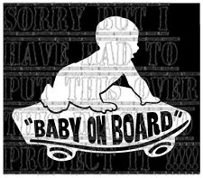 Baby on board vans skate board skater patinage decal autocollant vinyle signe garçon blanc