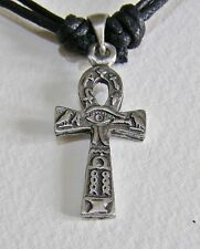 Pewter Egyptian Ankh Pendant Cord Necklace NEW Double Sided