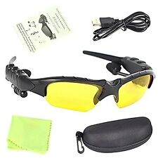 Yellow Wireless Bluetooth  + MP3 Player SunGlasses Headset Headphones Handfree