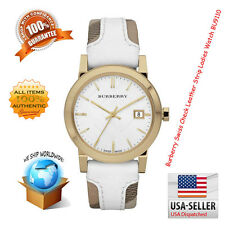 Brand New Burberry Women's BU9110 Large Check Leather Strip On Fabric Watch