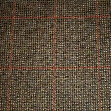 Moss Green & Brown with Orange Check Tweed - 2.50 Mtrs