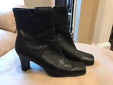 Chico's Corral Black Leather Ankle Boots Womens Size 8