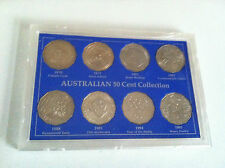 1970 TO 1995  AUSTRALIAN 50c UNC 8 COIN COLLECTION SET