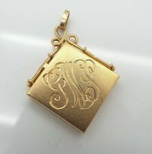 Antique 14k Locket Square Shaped W/ GWS Engraved on the front