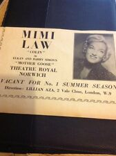 L1-2 Ephemera 1956 Advert Variety Artist Mimi Law Theatre Royal Norwich