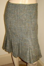 ZARA WOMAN Peacock Blue/Olive Green/Gray Woven Wool Blend Pleated Skirt (4)