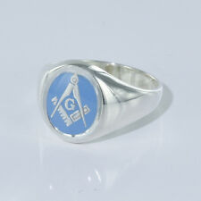 Solid Silver 925 Hallmarked Masonic Signet Ring Square And Compass Fixed Head