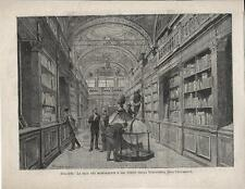 Stampa antica BOLOGNA Biblioteca Università Sala Codici 1888 Old antique print