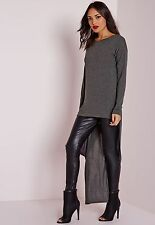 MISSGUIDED dipped hem long sleeve tunic grey marl UK 12 US8 EUR40 (camg18)