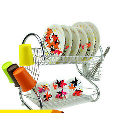 Kitchen Storage 2 Tiers Dish Cup Drying Rack Holder Organizer Drainer Dryer Tray