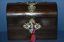Antique 19th Century Coromandel Stationery Box, Brass & Turquoise Inlay, c 1860