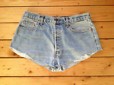 LEVIS VINTAGE ORANGE TAB LADIES REWORKED LIGHT BLUE DENIM HOTPANTS / SHORTS W36