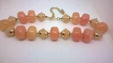 Vintage Jewllery Gorgeous  Marble Lucite Large Bead Necklace 1960s/1970s Peach