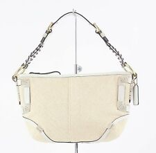 "Coach Cream White Leather Trimmed 10"" x 7"" Shoulder Bag B48"
