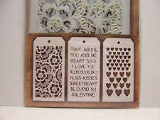 3 Mini Layering Stencils Lace - Valentine Words - Heart Designs Tim Holtz Set #6