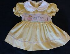 SMOCKED Baby Togs Yellow Dress 12 mo Blonde Girl Clothesline Rabbit Bird EASTER