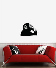 "WALL - Chimp Thinking - Wall Vinyl Decal (14.25""w x 11""h) (BLACK)"