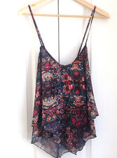 Abercrombie & Fitch Peasant Top M Cami Triangular Hem Floral Black Double Layer