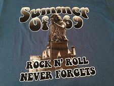 Summer of 69 Rock N Roll Never Forget T Shirt Woodstock Blue Adult Medium