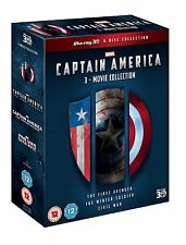 CAPTAIN AMERICA 3D Trilogy  [Blu-ray 3D Box Set] Complete 1-3 Movie Collection