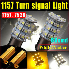 2X 1157 60SMD DUAL COLOR SWITCHBACK WHITE AMBER TURN SIGNAL LED LIGHT BULB 1157A