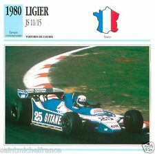 LIGIER JS 11/15 1980  CAR VOITURE FRANCE CARTE CARD FICHE