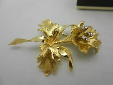 Gorgeous Italy Large 18k 750 Yellow Gold Diamond Flower Orchid Brooch Pin