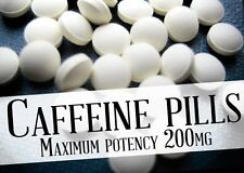 100 CAFFEINE TABLETS PILLS 200 mg STRENGTH - Weight Loss,Fat Burner,Stimulant
