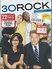 NEW / SEALED 30 Rock Season 3 - 3rd Series - Region 1 Alec Baldwin Tina Fey NBC