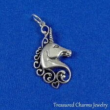 .925 Sterling Silver UNICORN CHARM HORNED HORSE Mythical Fantasy PENDANT