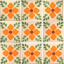 SET #000) With NINE Mexican Tiles Ceramic Clay Handmade Handcrafted Mexico Tile