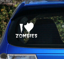 I love Zombies car decal sticker rebel shotgun monster be nice to fat people