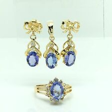 14k Yellow Gold Natural Tanzanite Diamond Earrings Ring Pendant