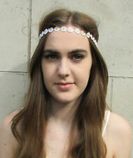 White Daisy Flower Headband Garland Chain Festival Boho Hair Band Elastic d84