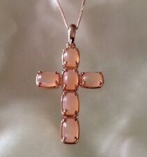 6.5 Ct, Peach, Moonstone Pendant, Cross, Rose Gold Overlay Sterling Silver