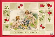MY VALENTINE THINK OF ME  CUPIDS HEARTS FLOWERS  POSTCARD