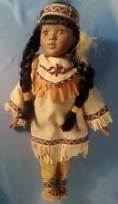"15"" Native American Indian Girl & Papoose Porcelain Doll {1911-11}"